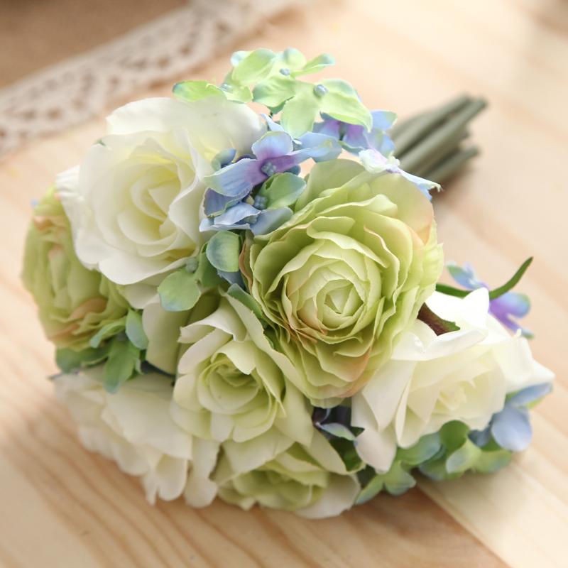 仿真花卉假花玫瑰花家居軟裝飾品客廳餐桌花瓶整體插花藝花束擺設
