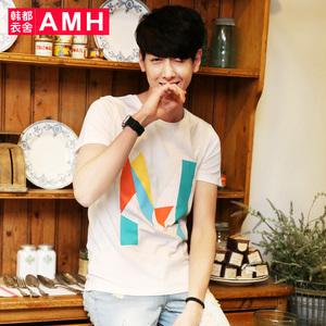 AMH男装韩版2016夏装新款圆领印花青年修身短袖T恤男潮