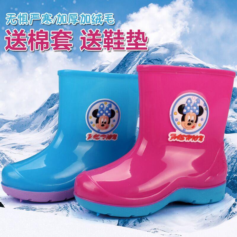 Новых детей пост дождя сапоги Детские сапоги скольжения теплая Обувь зимняя шерсть для мужчин и женщин студентов ботинки воды