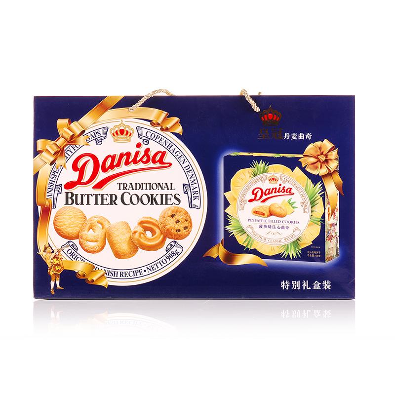 ~天貓超市~DANISA 皇冠印尼 曲奇餅幹908g 盒贈品