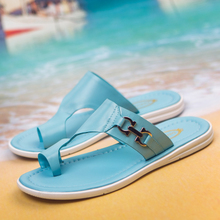 Daily han edition 2015 summer new men leisure leather thong personality tide male slippers travel money