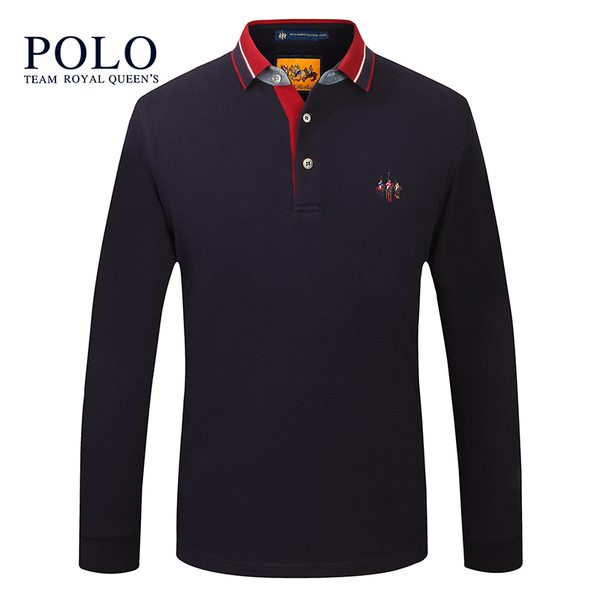 American Paul POLO men's genuine 2017 new cotton long-sleeved POLO shirt lapel solid color male long-sleeved T-shirt