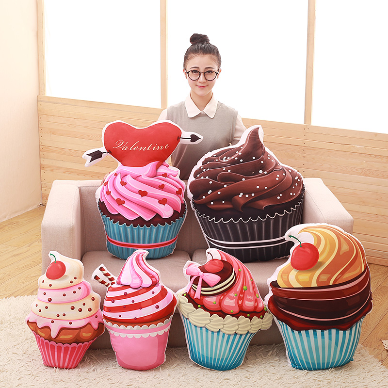 创意仿真3D冰淇淋蛋糕甜筒抱枕毛绒靠垫靠枕午睡枕头食物趴睡床头10月15日最新优惠
