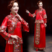Show Wo Xiu kimono dress bride gown bridal wedding dress in Red Chinese wedding toast clothing wedding dress cheongsam