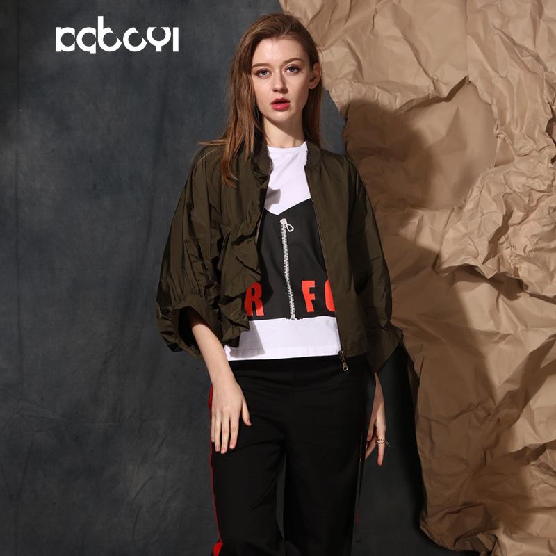 卡布依限量版原创设计师品牌女装2017春季新品七分袖军绿短外套女