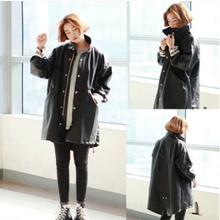 The new 2015 han edition harajuku bf wind sleeve printed letters handsome loose big yards long leather coat