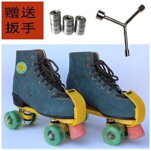 Strong leather double roller skates skating rink dedicated fly double wheel roller skates adult skates flash round double