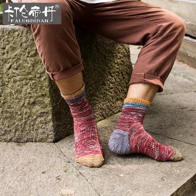 毛巾袜民族风毛线袜子男春秋季加厚棉袜保暖中筒袜运动男士袜长袜