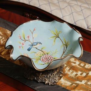 美式乡村创意花鸟彩绘陶瓷水果盘 复古果盘 餐桌茶几客厅工艺果盘