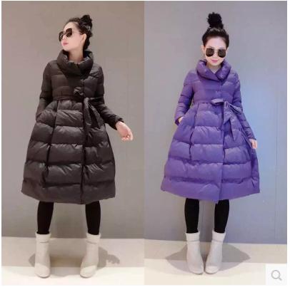 Корейская версия зимней школы толщиной теплой вниз пальто плюс размер Ветер долго талии и положил на платье, как минималистский куртка
