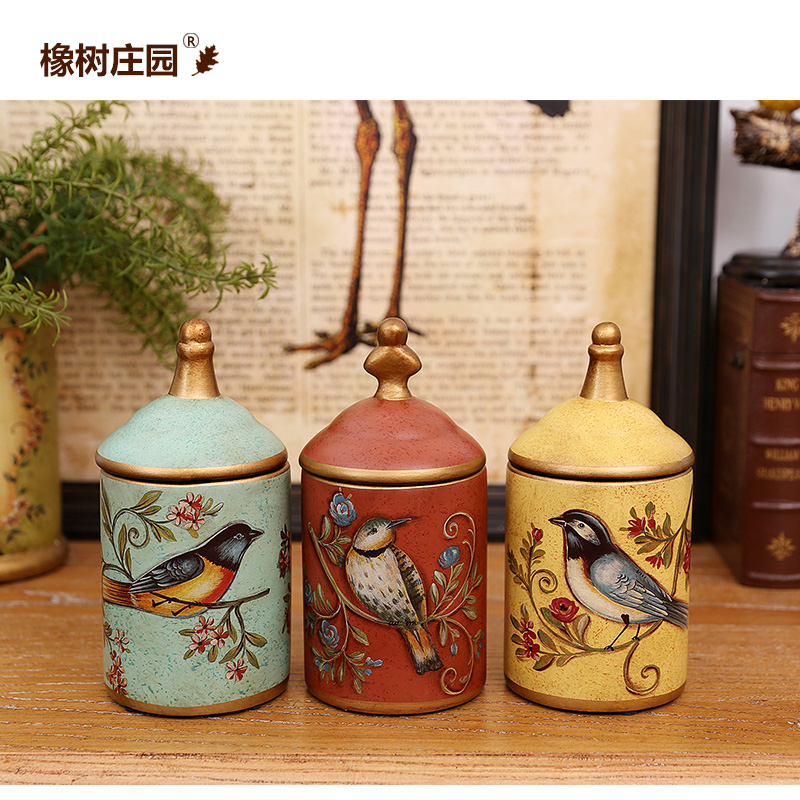 橡樹莊園 美式鄉村陶瓷花鳥儲物罐擺件 家居客廳 桌麵裝飾品