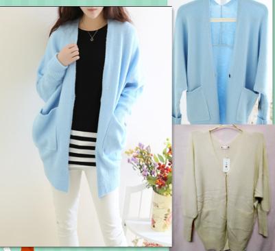 Корейской версии новый тонкий сплошной цвет 6411# два кармана пальто двойной v шеи bat рукав трикотаж loose кардиган