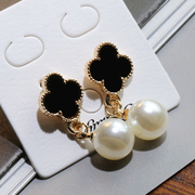 Know Richie fashion Korean temperament long four-leaf clover earrings Pearl Earrings fashion jewelry pendant ears wild woman