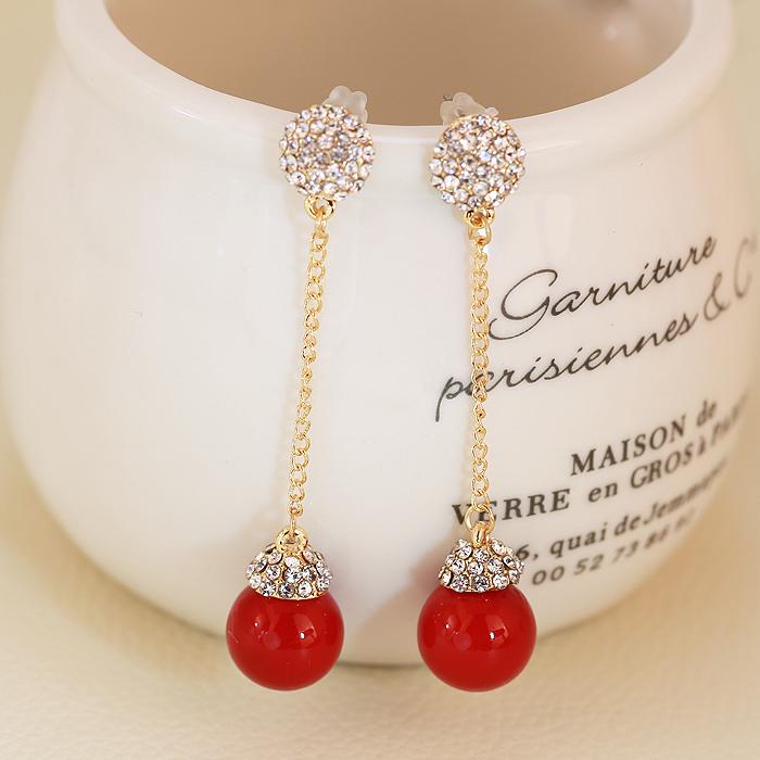 韩国红色珍珠新娘结婚无耳洞女耳环(非品牌)