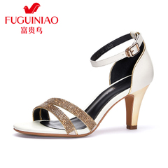 Rich bird 2015 fine high heel sandals with Rhinestone sandal summer shoes leather Sandals Women buckle sandals