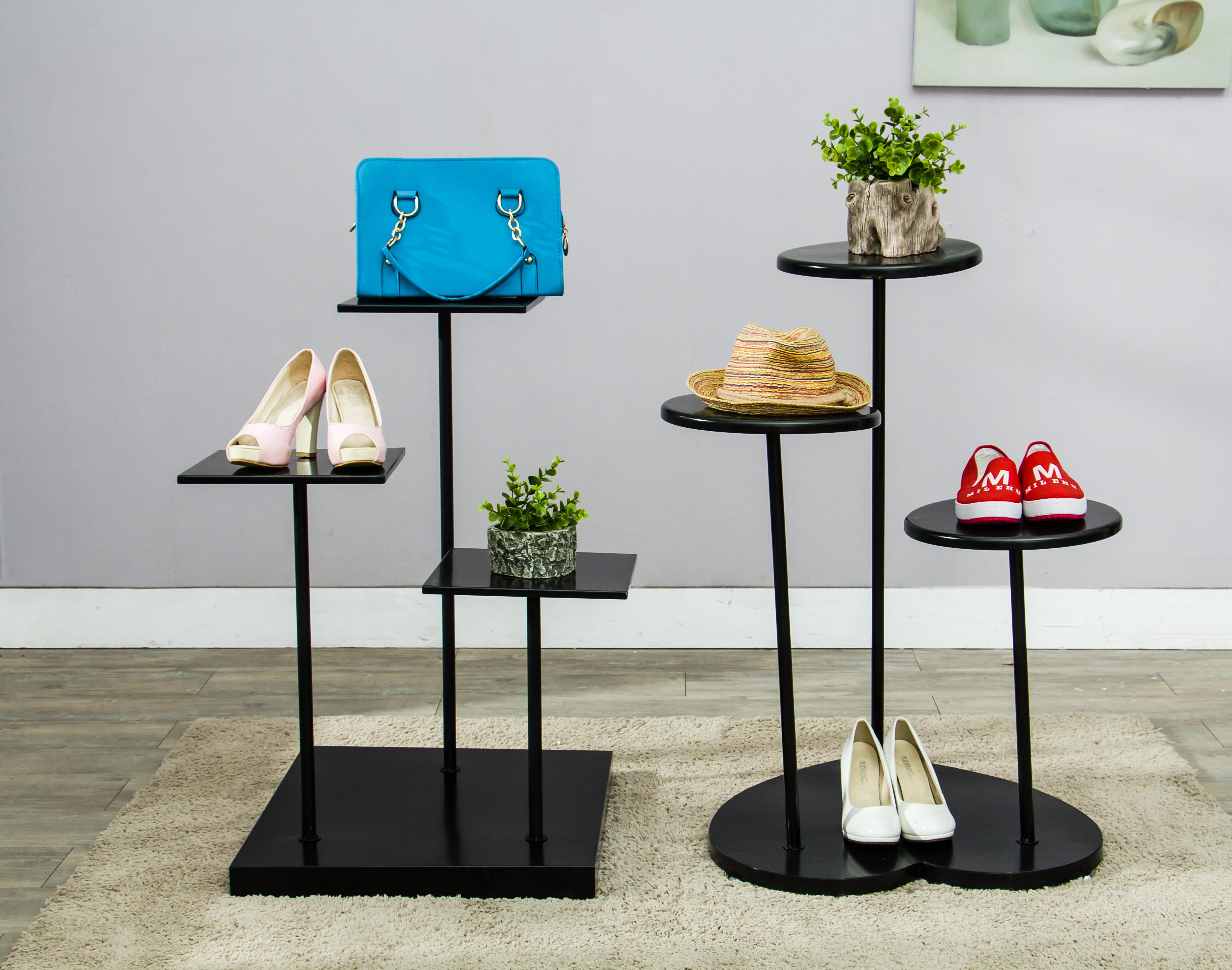 橱窗展台鞋架展示架鞋店货架心形包包展柜落地鞋托架中岛鞋柜鞋架图片