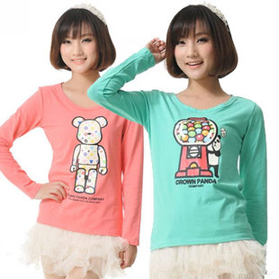 Winter new Korean version of sweet cartoon cotton long sleeved T shirt female hedging Slim was thin shirt bottoming shirt