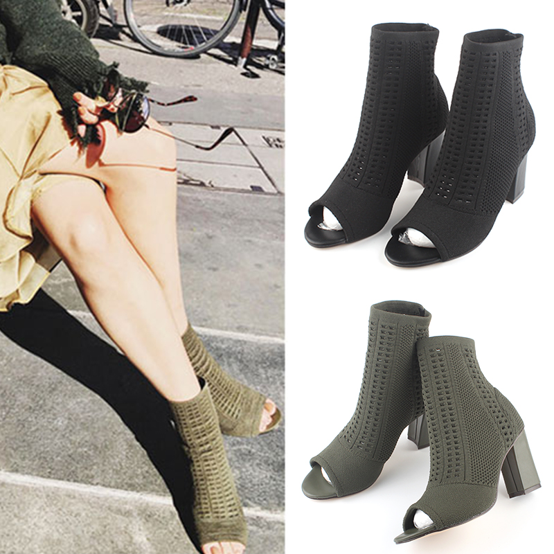 Lin same fish mouth boots womens thick heel open toe sandals hollow wool knitted boots high heel elastic womens short boots and socks