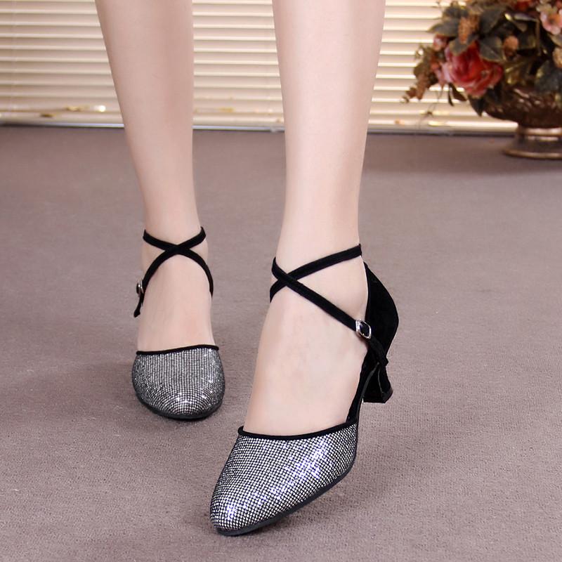 女式拉丁舞女鞋女式摩登舞女鞋女交谊舞鞋中跟软底广场舞鞋舞鞋