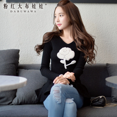 Sweater girls pink spring 2015 ladies ' knitted the doll and put new Turtleneck Long sweater sweater