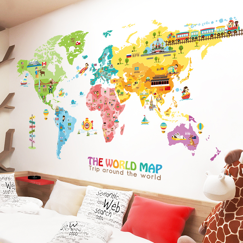 客廳臥室背景裝飾自粘卡通世界地圖牆貼紙可愛兒童房裝飾牆紙貼畫