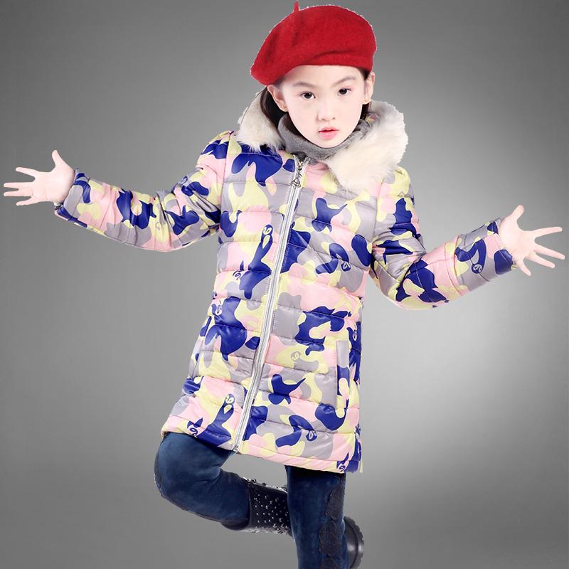 Дети девочек зимние пальто куртки новых 2014 утолщенные ребенок большой хлопок долго корейские зимние