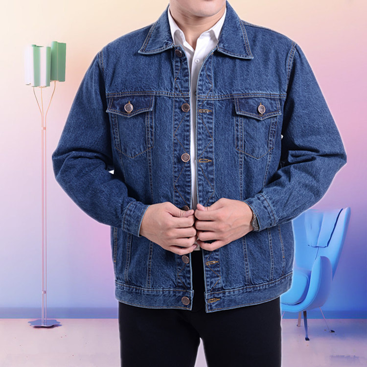Spring and autumn denim jacket jacket middle aged mens casual coat middle aged and old peoples Lapel long sleeve work clothes