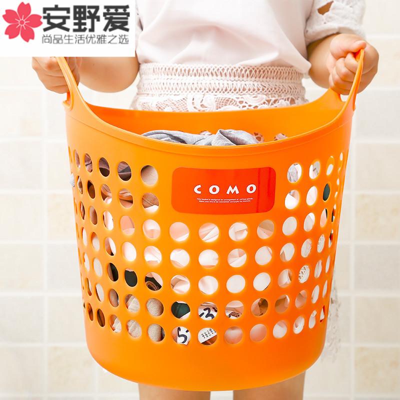 日本进口inomata收纳筐塑料脏衣篮 镂空有盖收纳筐 脏衣篓收纳箱