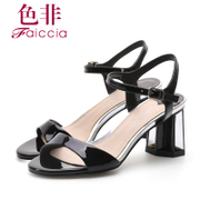 Faiccia/non non 2015 summer styles counter genuine leather peep-toe chunky heels women's Sandals 3C26