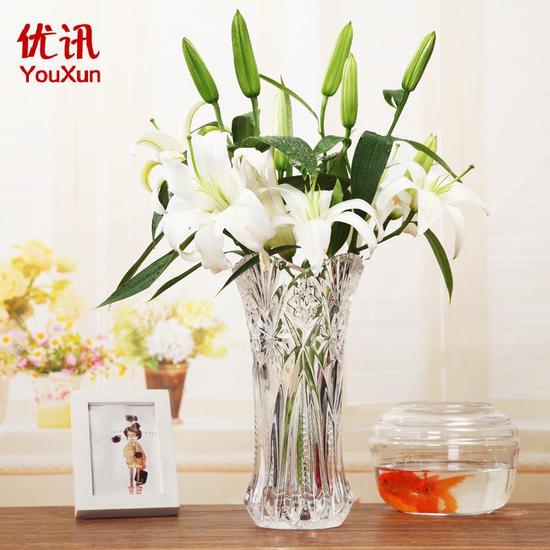 花瓶 客廳插花擺件水培富貴竹百合落地花瓶歐式大號玻璃透明花器