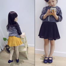 Girls' skirts Pleated skirt chiffon skirt Cotton lining fall 2015 new female children's clothing a joker