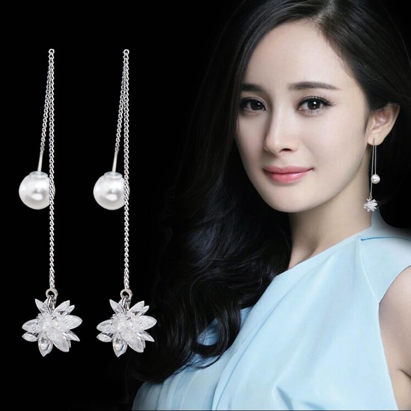 白色大红水晶冰花耳环时尚冰雪花耳坠女韩国气质简约长款雪花耳线券后17.90元