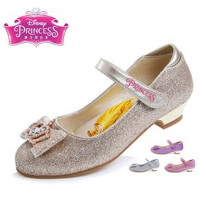 迪士尼儿童皮鞋女童鞋学生鞋蝴蝶结高跟女鞋灰姑娘皮鞋