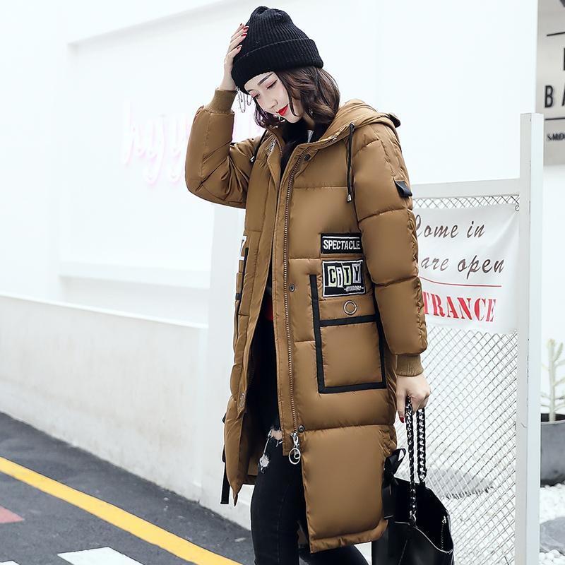 实拍2017羽绒服冬季新款时尚字母韩版修身中长款棉服外套女8833