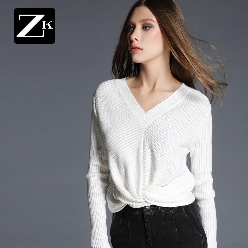 ZK женщины 2017 весна новый V воротник обтягивающий стройнящий нерегулярный сетка круг сложить мода хеджирование свитер женщина B
