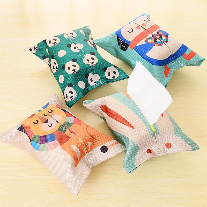 Мультики творческий милый льняная ткань привлечь взять стиль ткань крышка автомобиль домой гостиная ins ткань бумажные полотенца насосные коробка