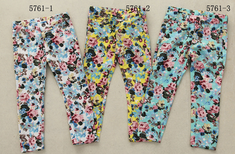 Childrens clothing in stock spring 2018 new printed girls elastic waist adjustable casual pants