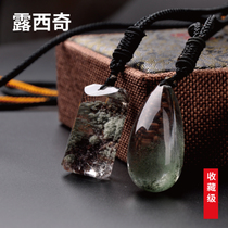 Lusic Crystal pendant natural green ghost pendant treasure pot thousand layers of mountain pyramid necklace image Pendant