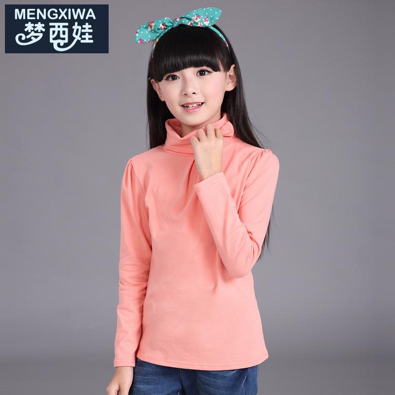 女童長袖高領T恤 中大童 體恤 女童打底衫 兒童純棉上衣套頭衫