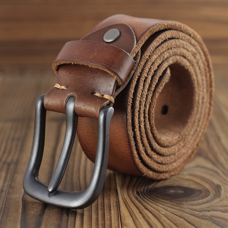 Soft wide belt womens mens leather top leather leather retro fashion youth simple versatile Jeans Belt