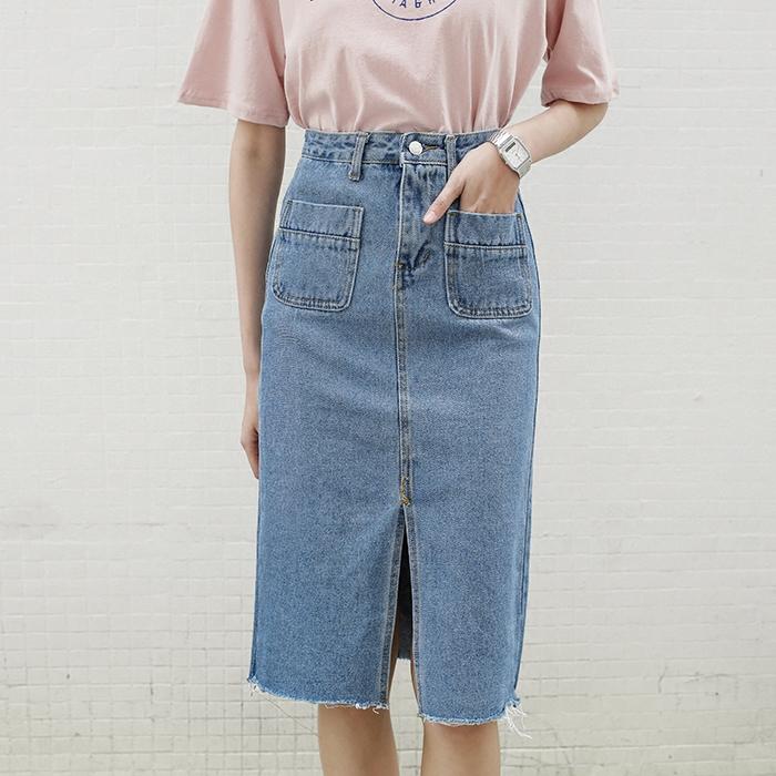 До краев возникают, когда летом 2016 новые джинсовые юбки женщин длинные юбки в корейской версии ретро бедра высокой талией юбки
