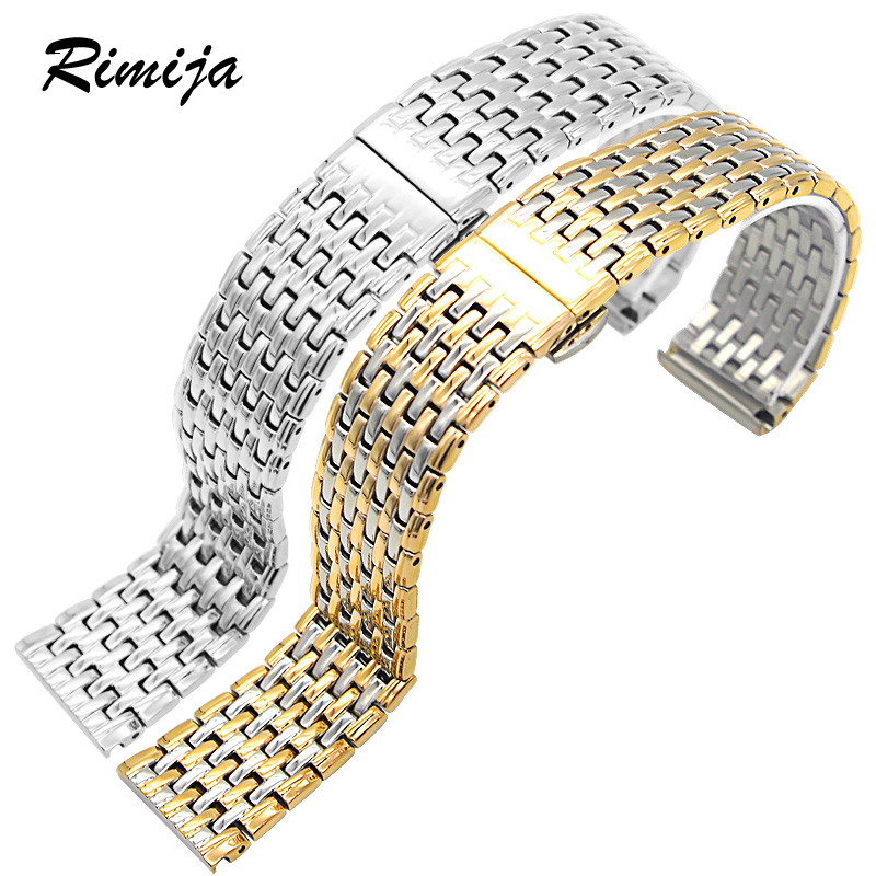 瑞美嘉蝴蝶扣鋼帶鋼表鏈男手表帶金色20MM不鏽鋼表帶22手表