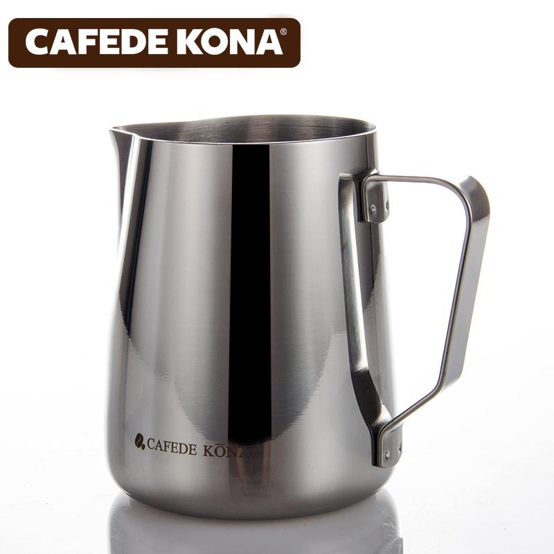 CAFEDE KONA拉花杯帶刻度尖嘴不鏽鋼加厚奶泡缸器具花式咖啡拉花