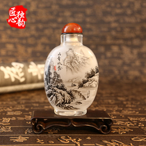 Craftsmanship single-rhyme snuff bottle painting abroad gifts to send foreigners gifts Chinese characteristics of pure handmade national wind decoration