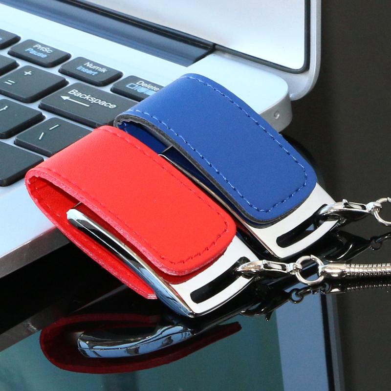 欧速皮套u盘4GB男女生日礼品创意刻字个性钥匙扣钢边皮质4gb优盘