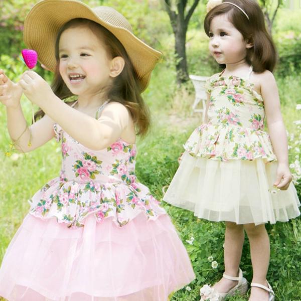 Z ESPRIT дети девушки платье короткий рукав лето 2015 Новый корейский цветочные платья платье принцессы 2-7