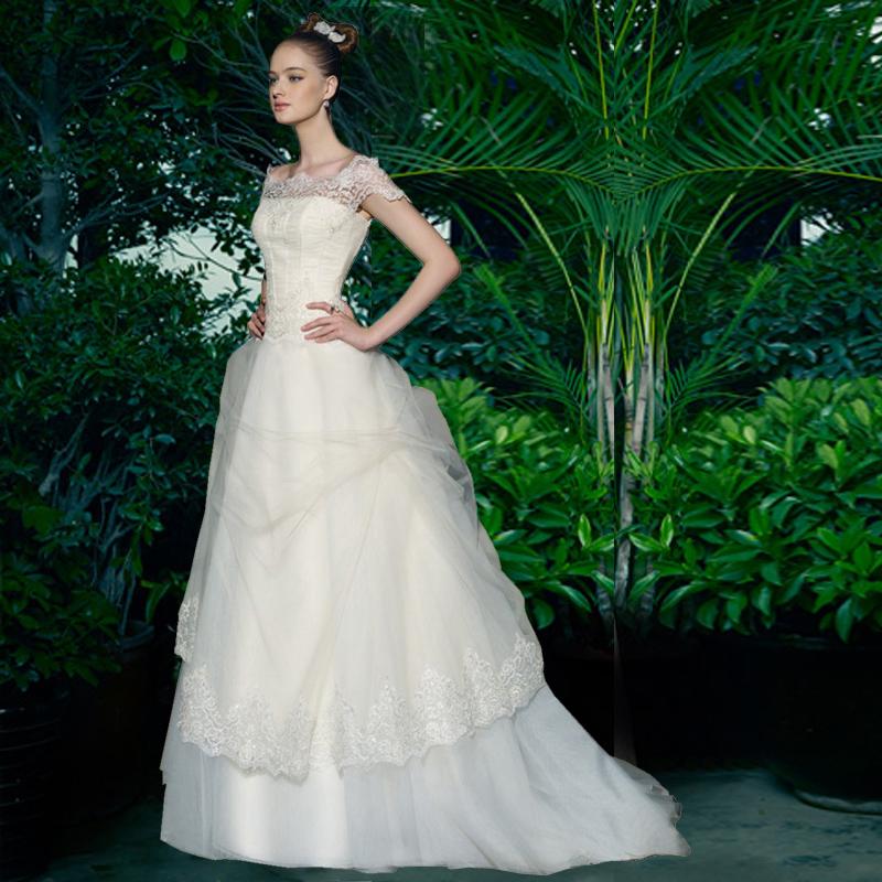 Свадебные платья невесты 2015 новые моды след плеча корейской версии большой корейский старинные кружева платье линии