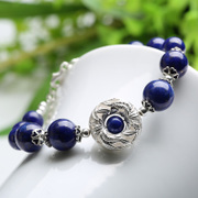 Three edge card treasure creative couple bracelets for men and women national wind Crystal 925 Silver lapis lazuli ring jewelry