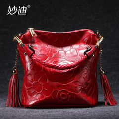 Miao di autumn 2015 new middle-aged female header layer of leather bag leather fringed shoulder diagonal small bag