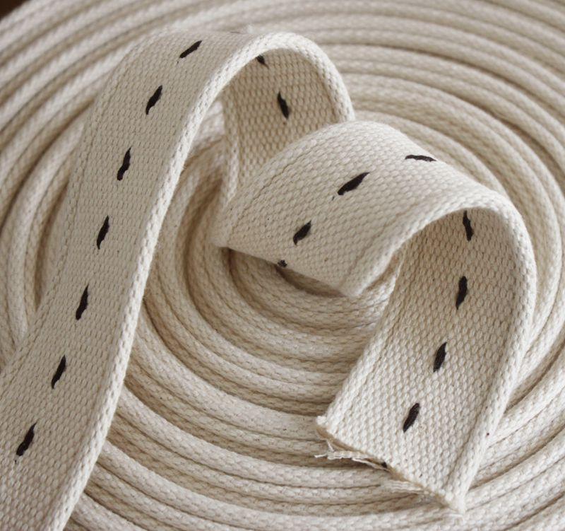 Thickened pure cotton woven belt cloth belt woven belt DIY accessories pure cotton canvas bag belt this white binding canvas belt